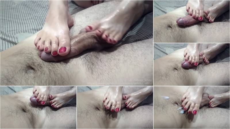Zefirka white - Oil Footjob - Massive Cumshot [FullHD 1080P]