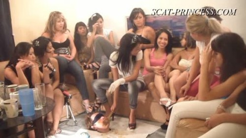 14 Girls and a Floor Level Toilet Slave Part 3 Britany - Femdom Scat, Humiliation Scat, Copro Video