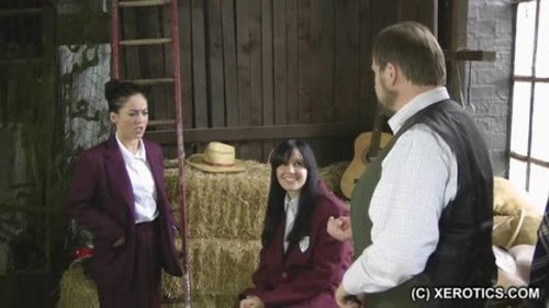 Schoolgirls Paddled in Hay Barn - Spanking and Whipping, Punishment