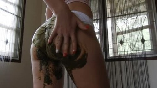 MissAnja - Big Load Filling My White Panty Smear JOI - Solo Scat Fetish, Defecation, Shiting Girl, Dirty Ass