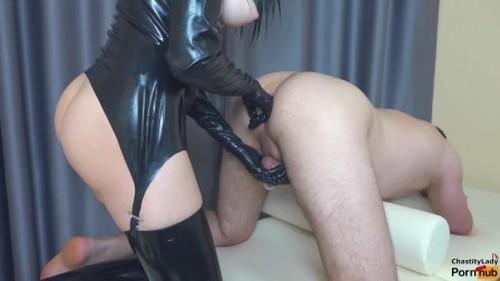 Femdom Prostate Milking in Chastity Belt with Strapon chastitylady