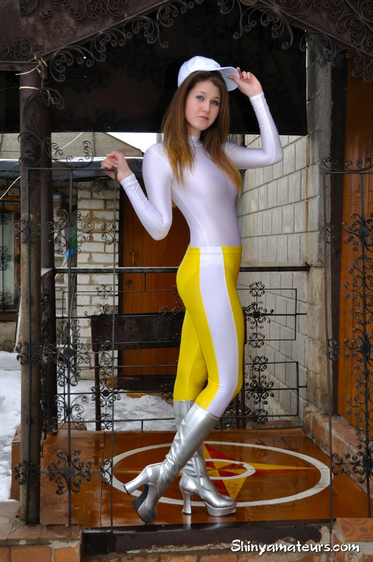 slavic model Anna T in tight pants & boots