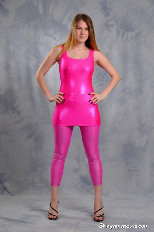 beautiful woman Anna T in minidress & pink leggings