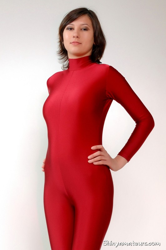 slavic model Dasha G in sexy red catsuit