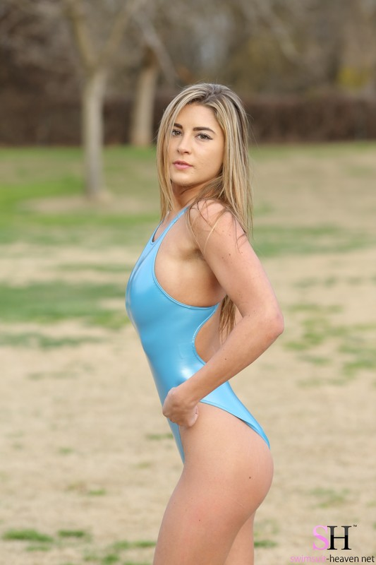 cute college girl Savannah in blue 1 piece swimsuits