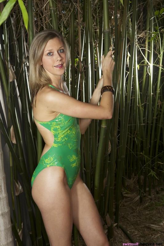 farmer girl Sammy in green 1 piece swimsuit