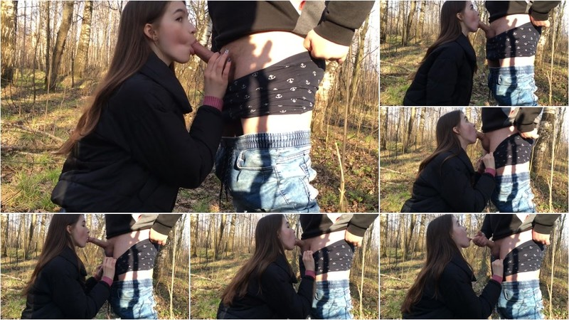 Kate Model - Girl makes a Slobbery Blowjob in the Forest [FullHD 1080P]