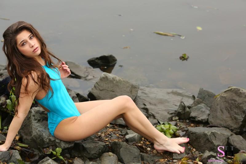 petite woman Ally in kinky realise swimsuit