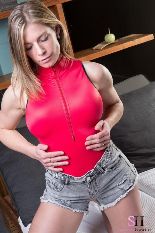 sweet blonde Alison in red realise swimsuit & jean shorts