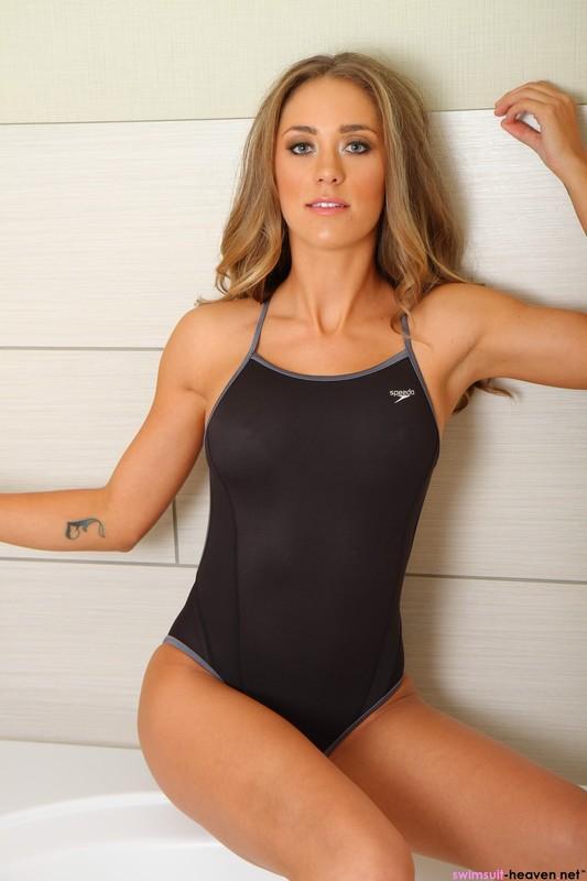 wet girl Ashley Light in speedo swimsuit