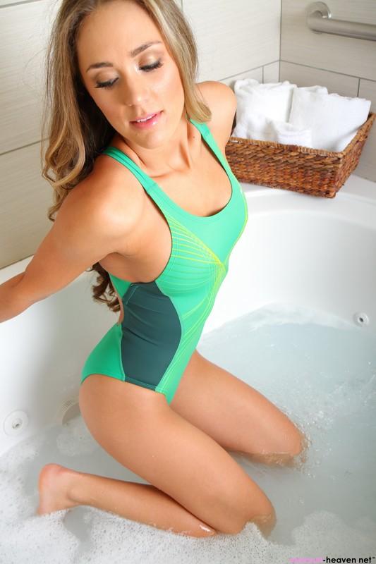shower girl Ashley Light in green nike swimsuit