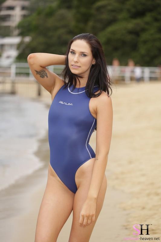 beach girl Maddison in blue realise swimwear