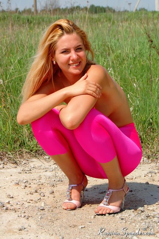 topless blonde teen in pink leggings & high heels