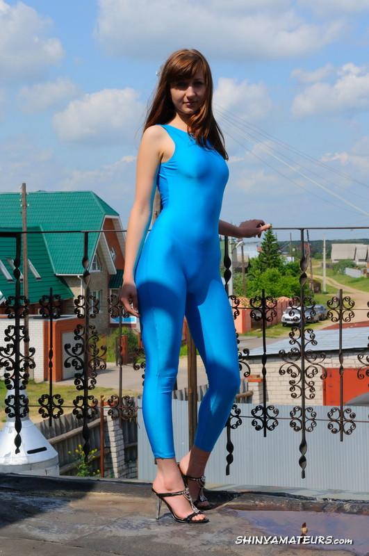 charming model Galina in blue jumpsuit & stilettos