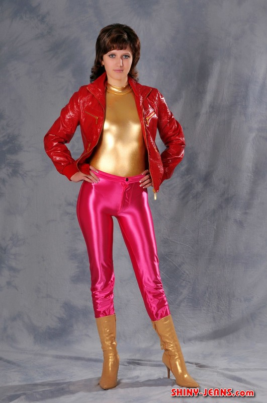 beautiful college babe Maria in shiny disco pants & boots