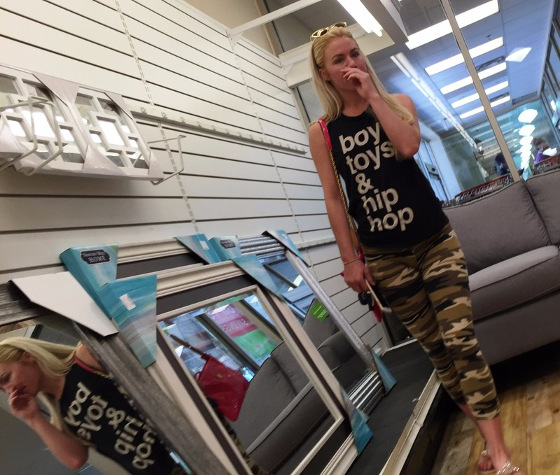 hot blonde chick in camouflage leggings