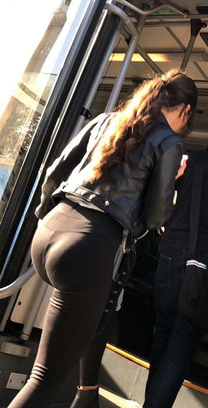pretty college chick in black leggings