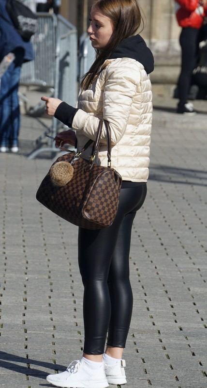 wonderful student girl in leather leggings