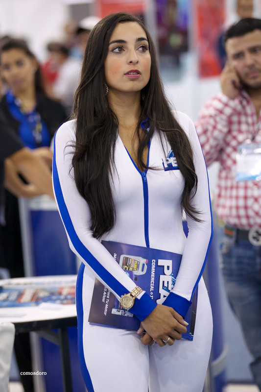 handsome latina promo girl in catsuit