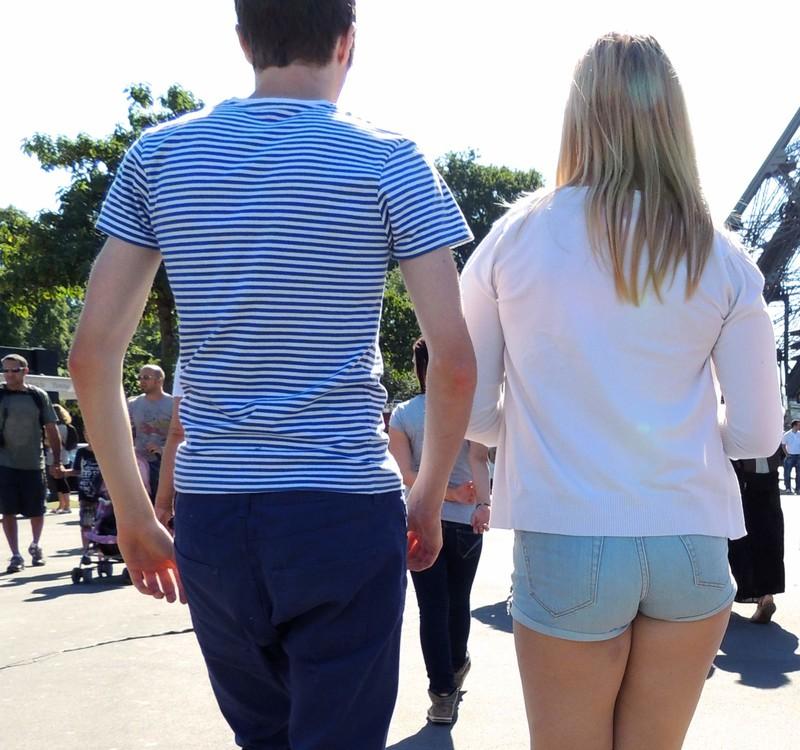 blonde hottie in denim shorts