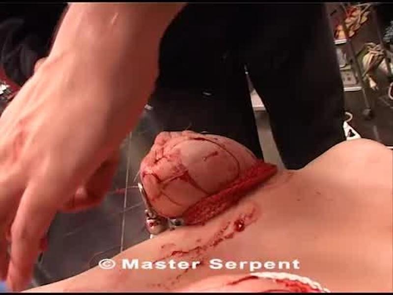 Needles skewered tits torture bloody
