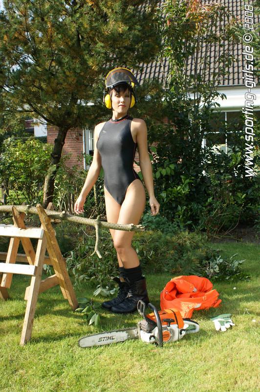 lumberjack babe Diana in 1 piece swimsuit