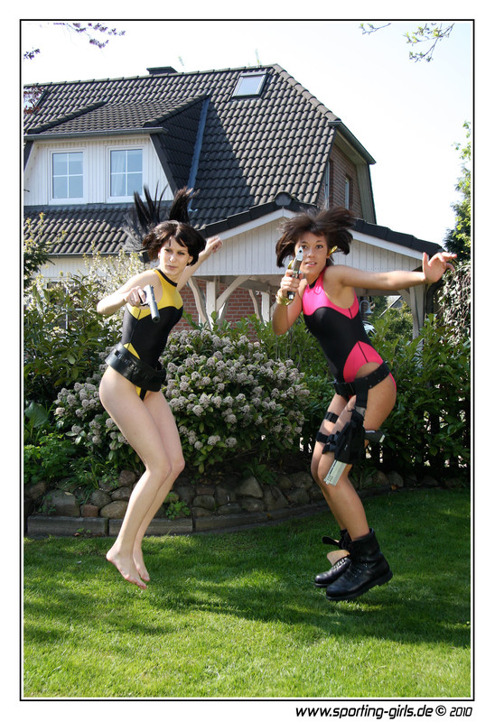 action girls Jacky & Olga in 1 piece swimsuits