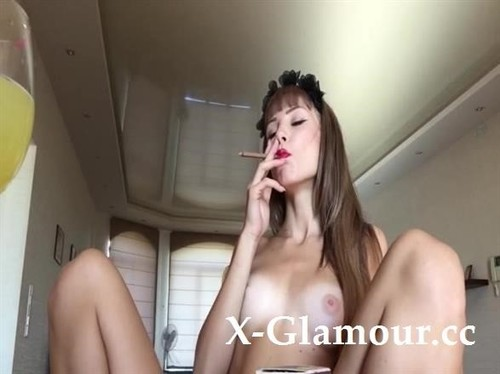 Gorgeous Lady Strips From Her See-Through Lingerie And Smokes [SD]