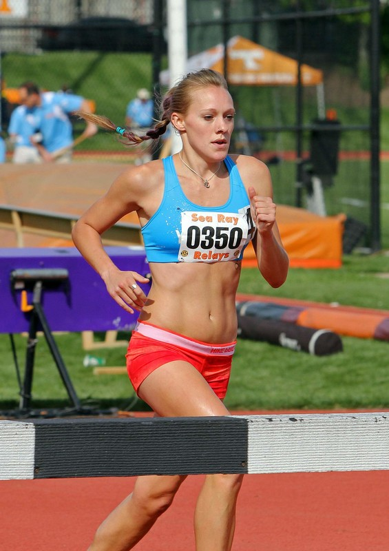 blond track & field chick in kinky spandex outfit
