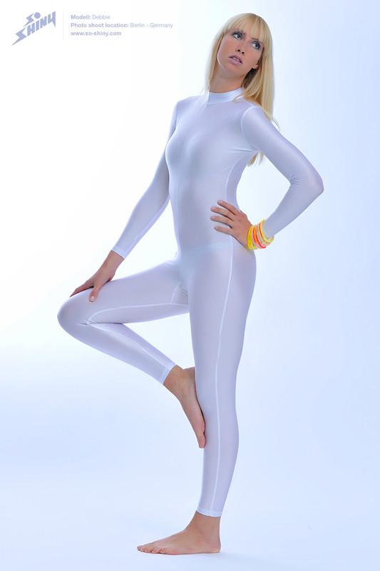 blonde gymnast lady Debbie in white bodysuit