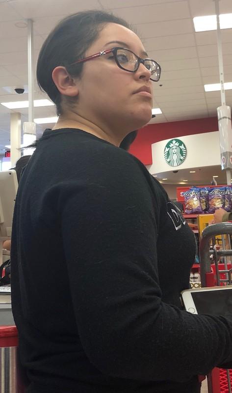 pretty hispanic female in flannel leggings
