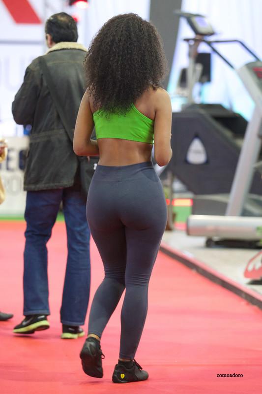 gorgeous ebony lady in sexy fitness uniform