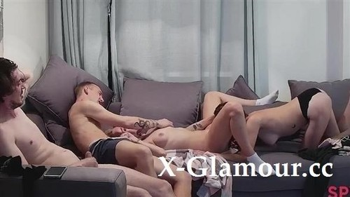 SpyGasm - Group Sex On The Couch with Emily, John, Eugene (SD quality)