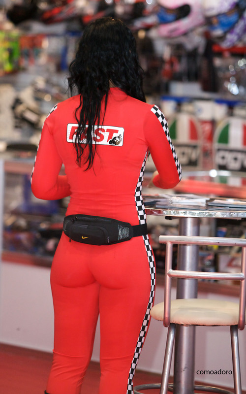 bike show promo girls in red catsuits