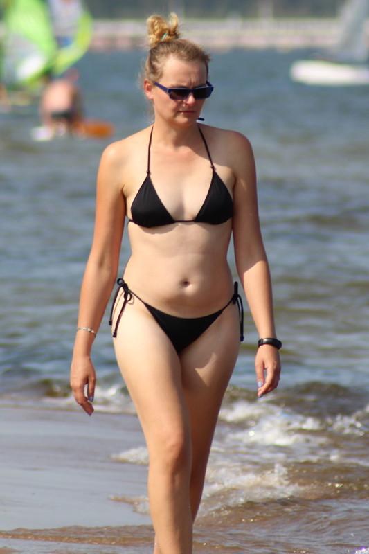handsome mature lady in black bikini