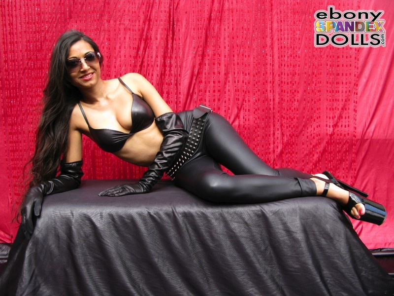 ebony spandex doll Maya in black shiny pants