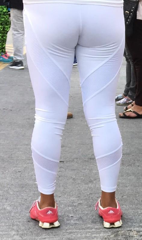 curvy milf in white yogapants
