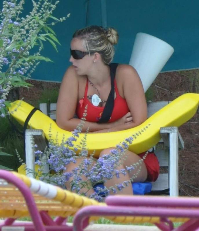 waterpark lifeguards in red swimwear