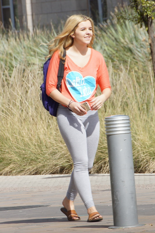 blonde college teen in tight grey yogapants