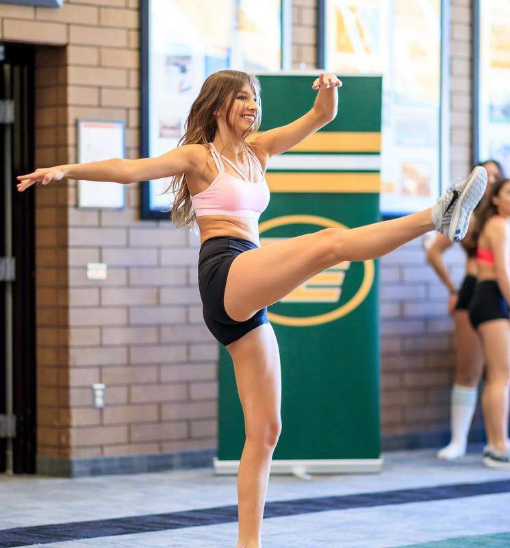 lovely cheerleader girls in yoga shorts