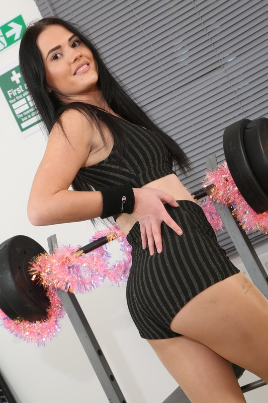 christmas lady Deannah in tights & gym uniform