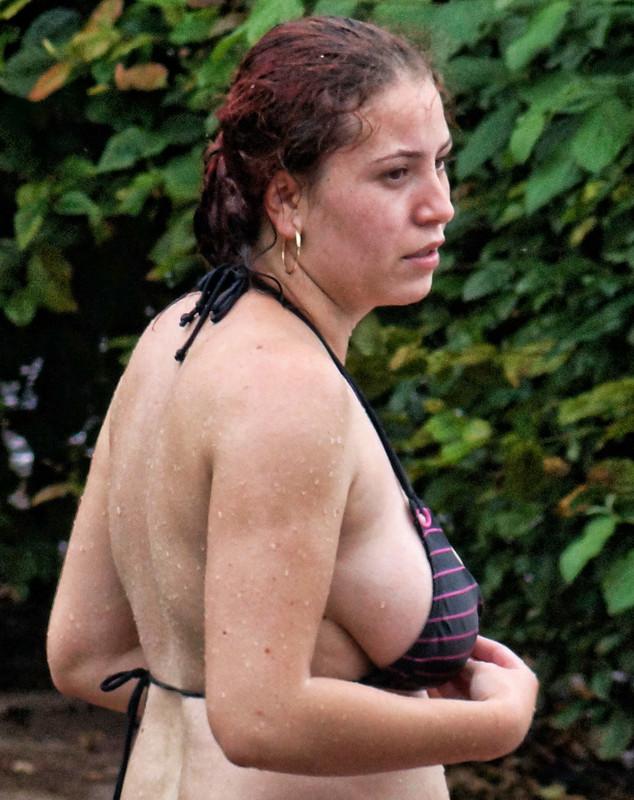 busty pool milf in wet bikini