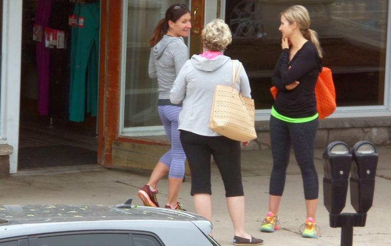yoga studio ladies in tight lycra pants