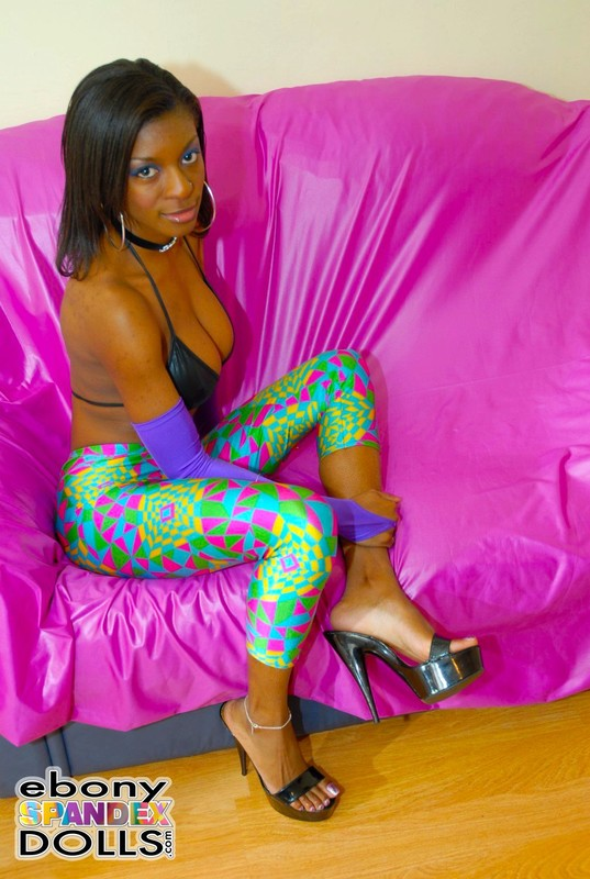 beautiful african teen in high heels & lycra pants