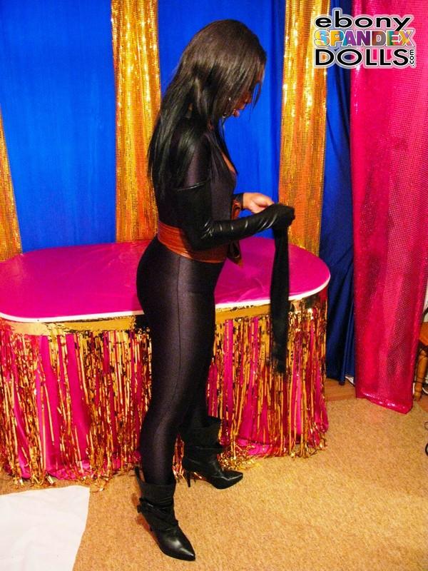 handsome ebony model Nicole in black catsuit