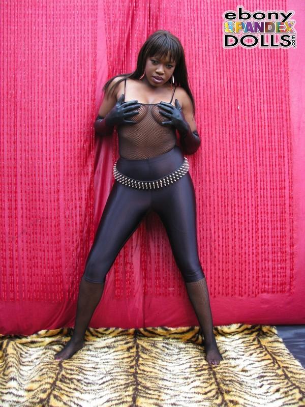 handsome black lady Sheree & kinky nylon & leggings