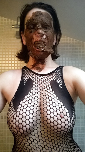 My photo with shit, shit on my face and shit on my tits 1