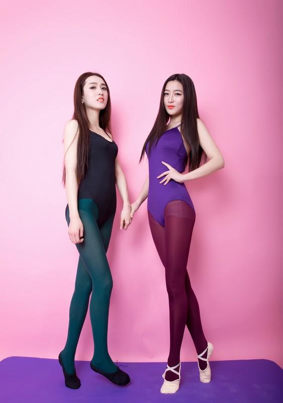 oriental aerobics girls in leotards & pantyhose