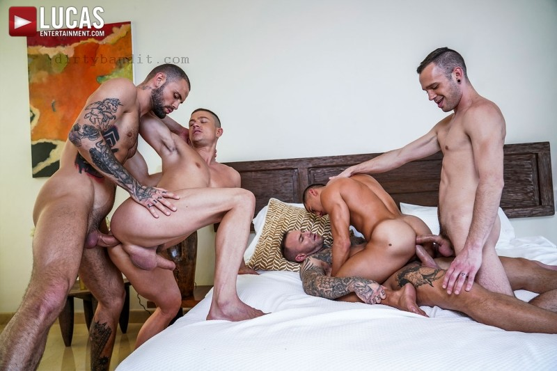 LucasEntertainment - 110.Dylan James, Jeffrey Lloyd, Drake Rogers & Ruslan Angelo's Bareback Foursome (Feb 12)