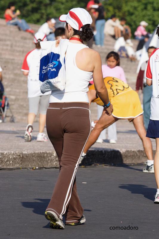 beautiful marathon chick in brown sweat pants